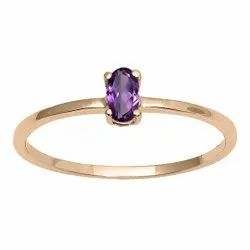 Stackable Pure Fine Gold 9k Amethyst Gemstone Women Engagement Ring
