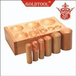 Gold Tool Hard Wood Dapping Block With Punches