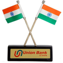 Wooden Table Decor Twin Indian Flag
