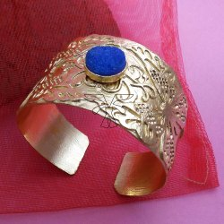 Gold Plated With Blue Gemstone Designer Bangle