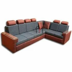 Grey And Brown Franbro L Shape Corner Sofa Set for Home