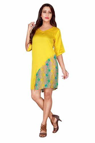 Round Neck Casual Satin Printed Tunic Dress