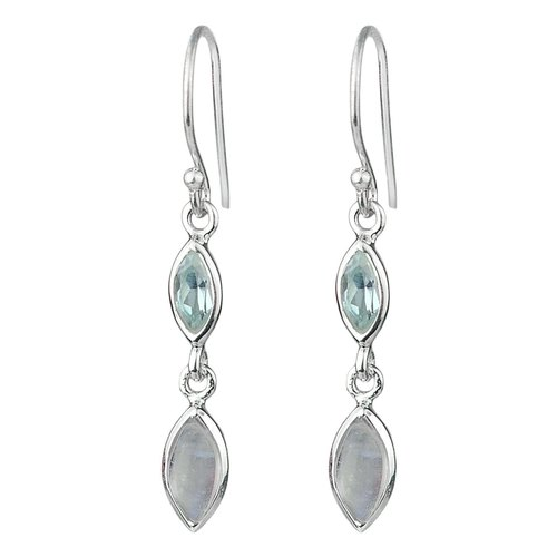 Long silver with Rainbow Moonstone and Topaz Silver bar earrings Sterling silver moonstone long earrings