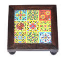 Multi-colored Wooden Set Of 3 Bajot Choki With Tiles