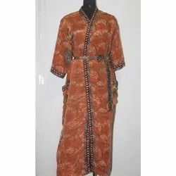 Silk Sari Long Kimono Bath Robe Maxi Sari Gown Dress