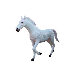 FRP Royal Looking White Horse Statue