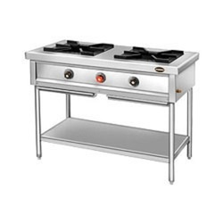 Silver Stainless Steel Two Burner Stove, For Kitchen