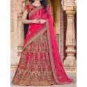 Pink Embroidered Lehenga, Packaging Type: Packet