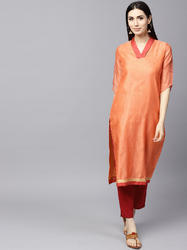 Orange Solid Straight Kurta With Gold Printed Sleeve