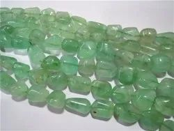 Green Fluorite Smooth Tumble Nugget Stone Bead Strands