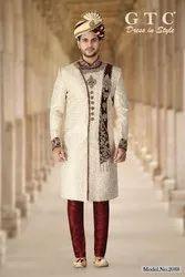Cream And Maroon Festive Wear Classic Sherwani