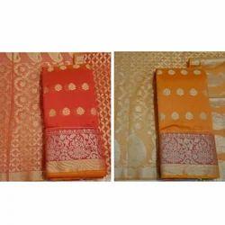 Unstitched Border Work Chanderi Silk Suits