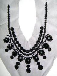 Antique Silver Beded & Sequins Neckline