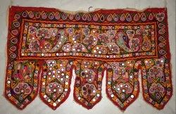 Vintage Kutch Embroidery Mirror Work Door Hanging Valance