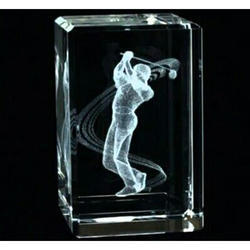 Crystal 2D Laser Engraving Cube Paper Weight