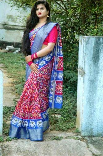 Silk Pochampally Saree with Blouse Piece, Length: 6.3 m