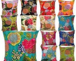 Floral Cotton Kantha Cushion Cover