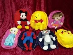 Backpack with Soft Teddy Cartoon Character Soft Toy Stitched For Kids Playful Teddy Attached.