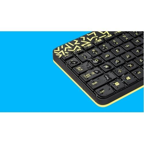 e6b4592cfe5 Logitech mk240 nano wireless mouse and keyboard with black and chartreuse  yellow color