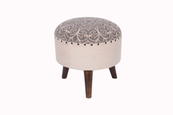 Upholstered Round Wooden Stool