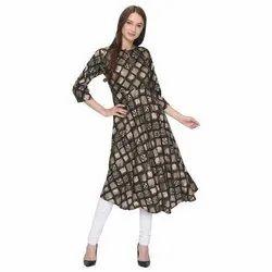 Stitched Casual Wear Designer Rayon Ladies Kurtis, Machine wash, Size: Small to XXL