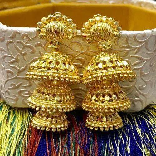 Golden Jhumka Gold Plated Earrings