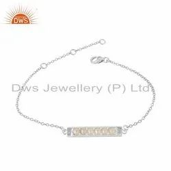 Nut Design Pearl Set Fine Silver Chain Bracelet Jewelry