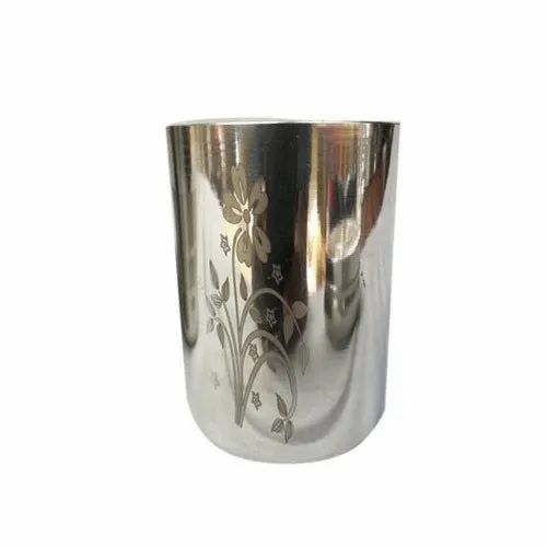 Silver Printed Designer Stainless Steel Glass, Mirror Polish, Material Grade: 304