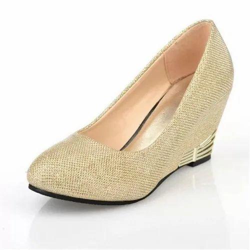 YM Women Wedge Golden High Heel Shoes