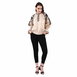 Women Beige Rayon Embroidered Top