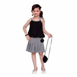 Black Casual Wear Kids Skirt Top