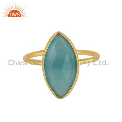 Blue Aqua Chalcedony Gemstone Silver Gold Plated Ring Jewelry