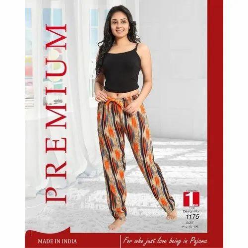 Ladies Printed Rayon Pyjama