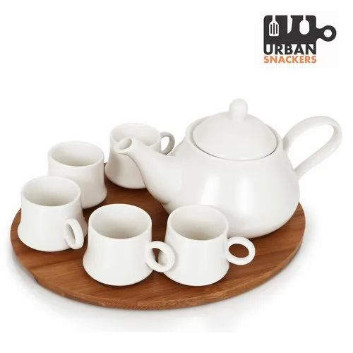 White Plain Cups And Tea Pot Set For