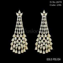 Cubic Zirconia Polki Chandelier Earrings
