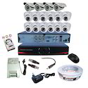12 Dome and 4 Bullet AHD CCTV Combo with 1 TB Hard Disk