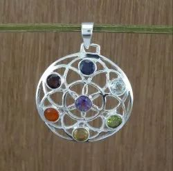 925 Sterling Silver Chakra Jewelry Multi Gemstone Pendant