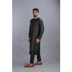 Plain Mens Black Khadi Kurta Pajama, Dry Clean, Size: S-XXL