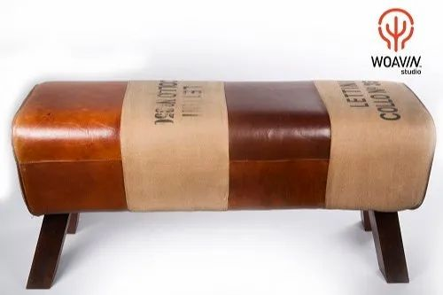Woavin Studio Leather Ottoman Bench With Wood Metal Legs Rs 8000