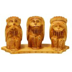 Three Wooden Monkey Set