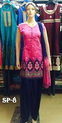 Straight Embroidered Semi Patiala Suit For Ladies