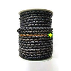Leather Braided Cord Midnight Blue