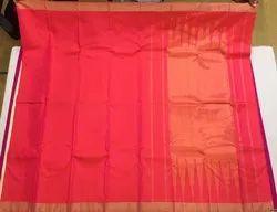Plain Kanchi Silk Saree, 6.3 m (with blouse piece)