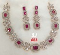 Red Sj American Diamond Set