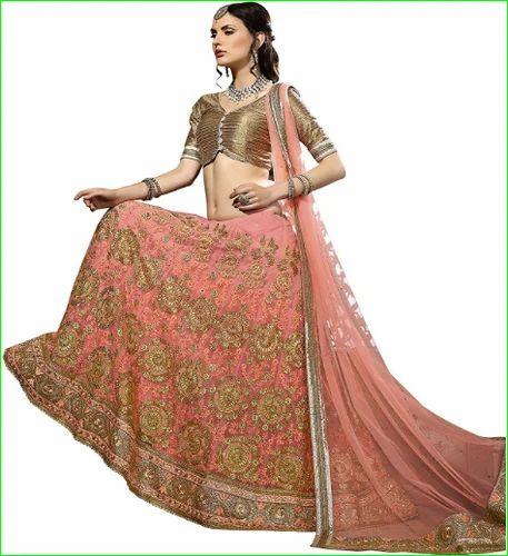a7a3eb70f48 Aasvaa Womens Peach Embroidered Net Lehenga Choli - Aasvaa Fashion ...