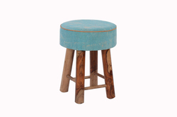 Wooden Rug Upholstered Round Stool