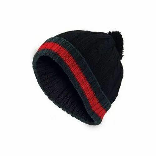 ae332f720b917 V.P. Oswal Black Designer Winter Caps