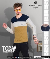 Cotton Free Zone Men V Neck Full Sleeve T Shirt