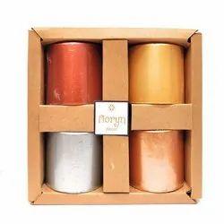 Metallic Pillar Candles Gift Set