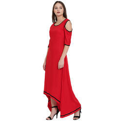 Red Long High Low Kurta
